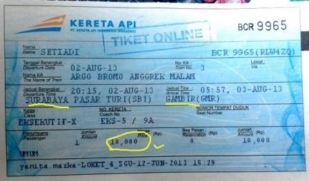 Tiket perjalanan saya dari Surabaya ke Jakarta. Only 10 ribuan aja, hehe